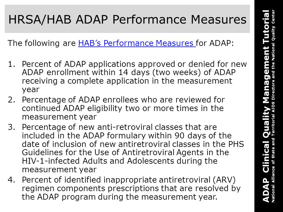 HRSA/HAB ADAP Performance Measures