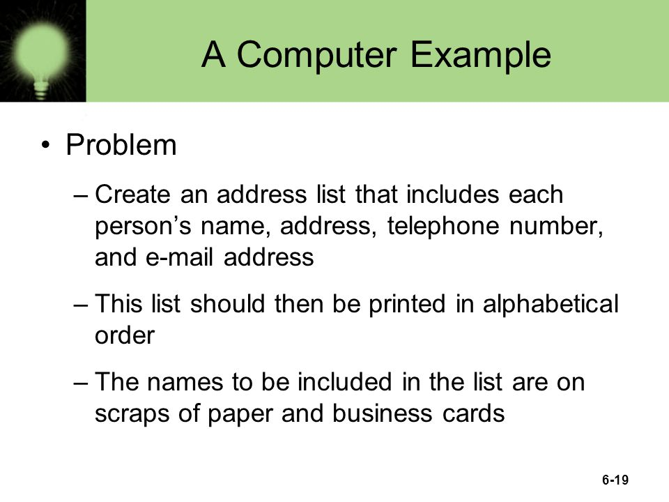 A Computer Example Problem