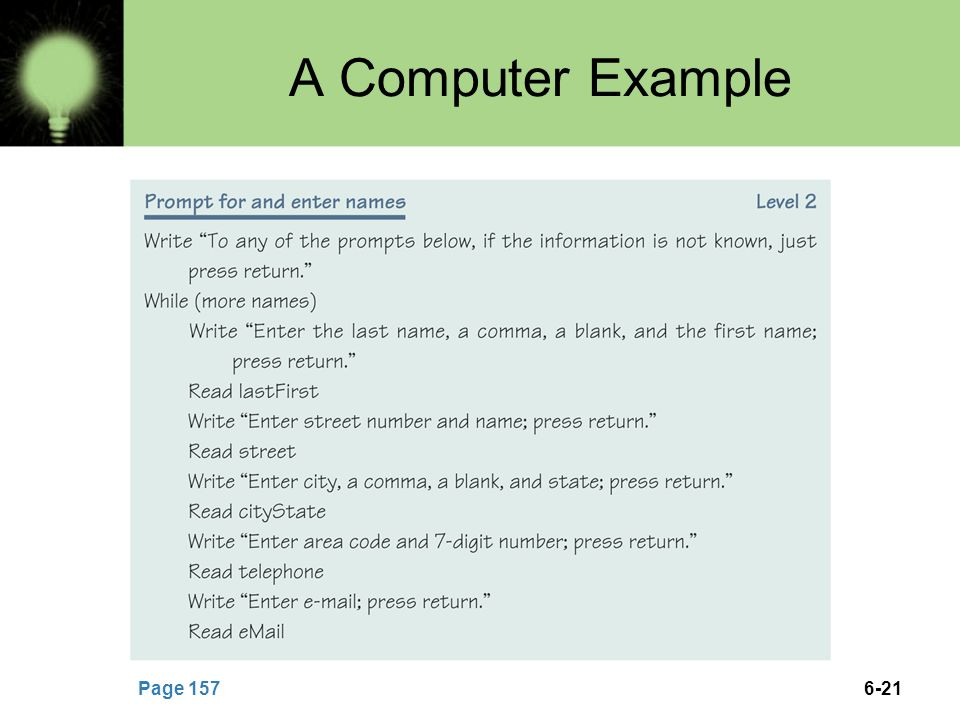 A Computer Example Page 157