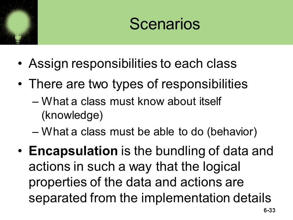 Scenarios Assign responsibilities to each class