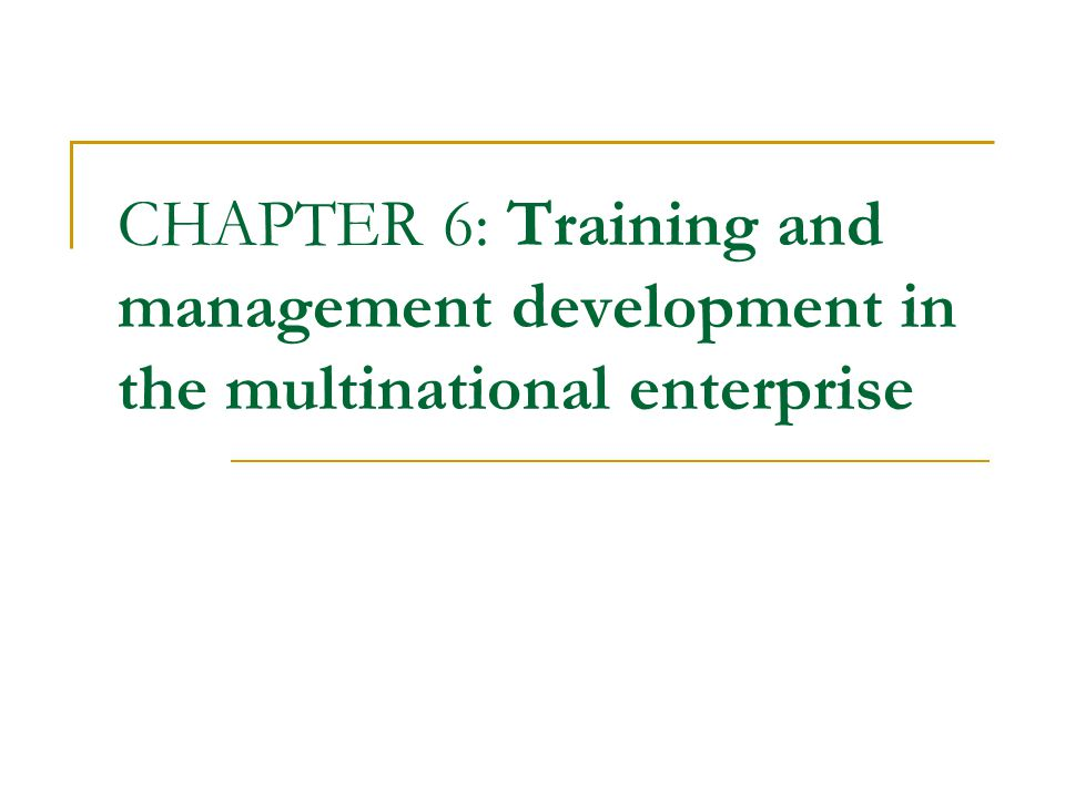 CHAPTER 6: Training and management development in the multinational enterprise