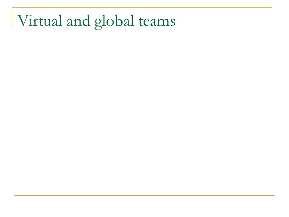 Virtual and global teams