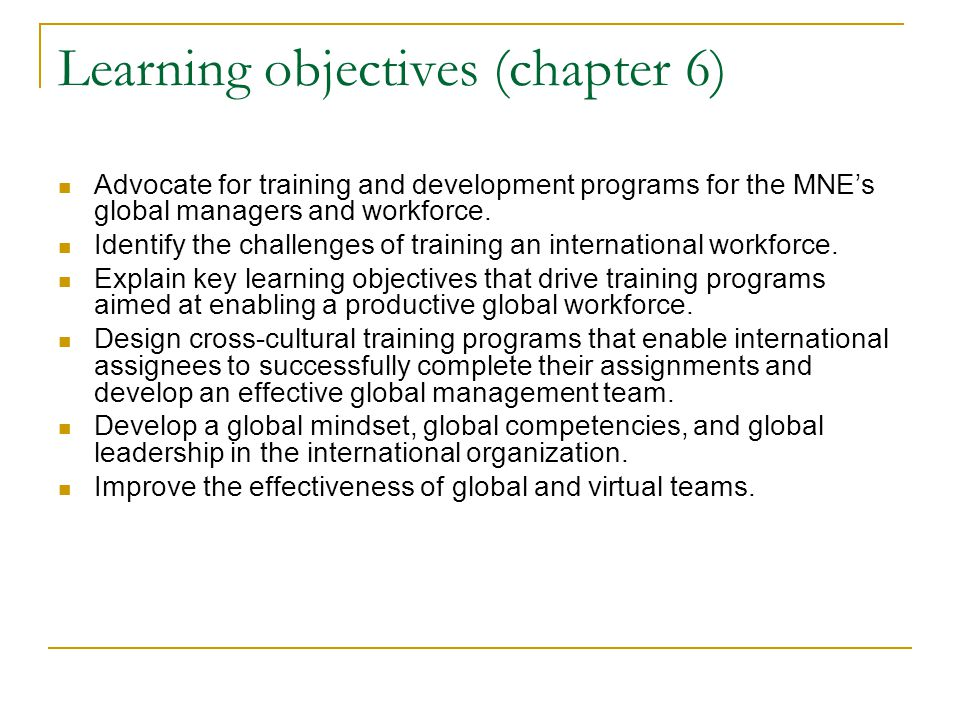 Learning objectives (chapter 6)