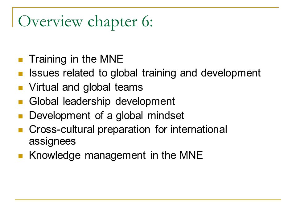 Overview chapter 6: Training in the MNE