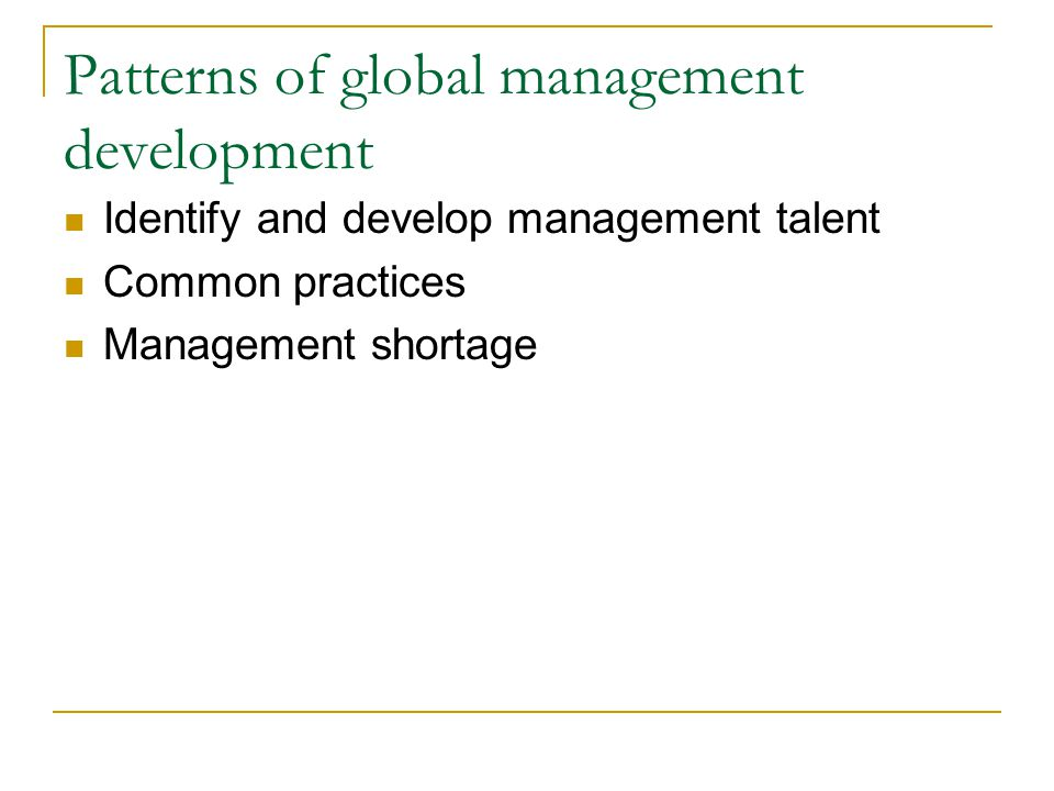 Patterns of global management development
