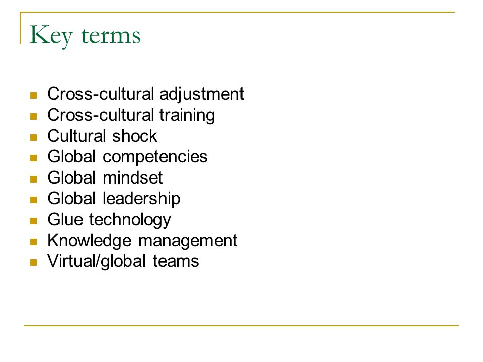 Key terms Cross-cultural adjustment Cross-cultural training