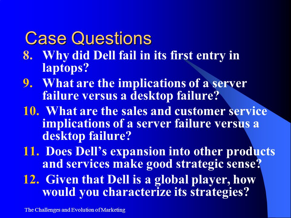 Case Questions 8. Why did Dell fail in its first entry in laptops