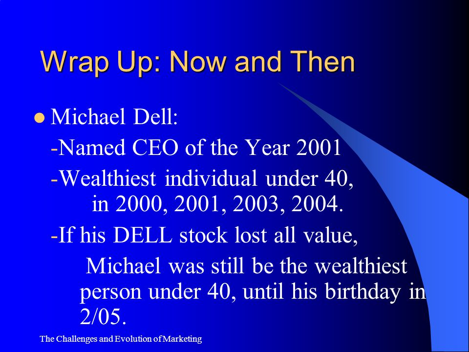 Wrap Up: Now and Then Michael Dell: -Named CEO of the Year 2001