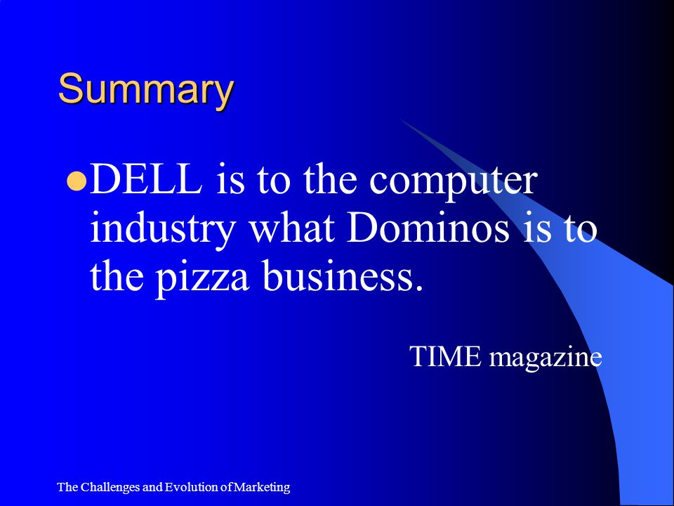 Summary DELL is to the computer industry what Dominos is to the pizza business.