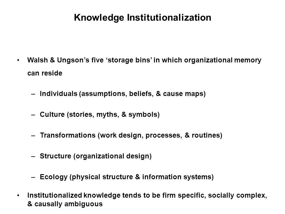 Knowledge Institutionalization