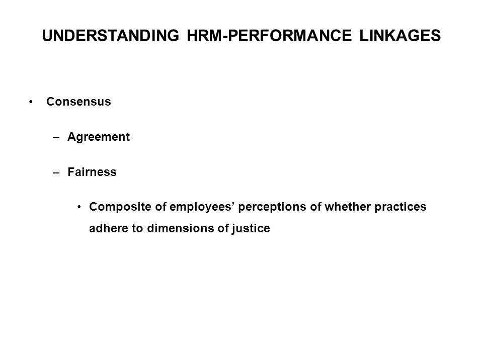 UNDERSTANDING HRM-PERFORMANCE LINKAGES