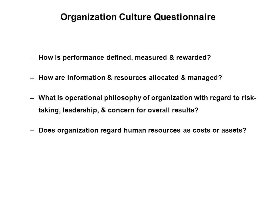 Organization Culture Questionnaire