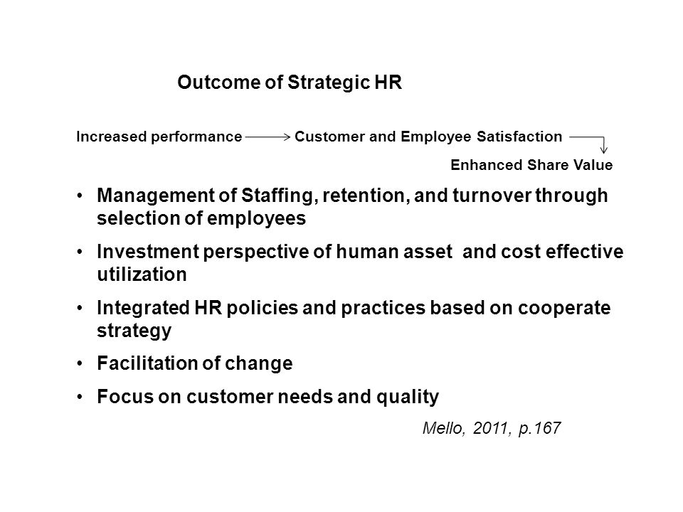 The Evolving Strategic Role Of Human Resource Management Mello, J