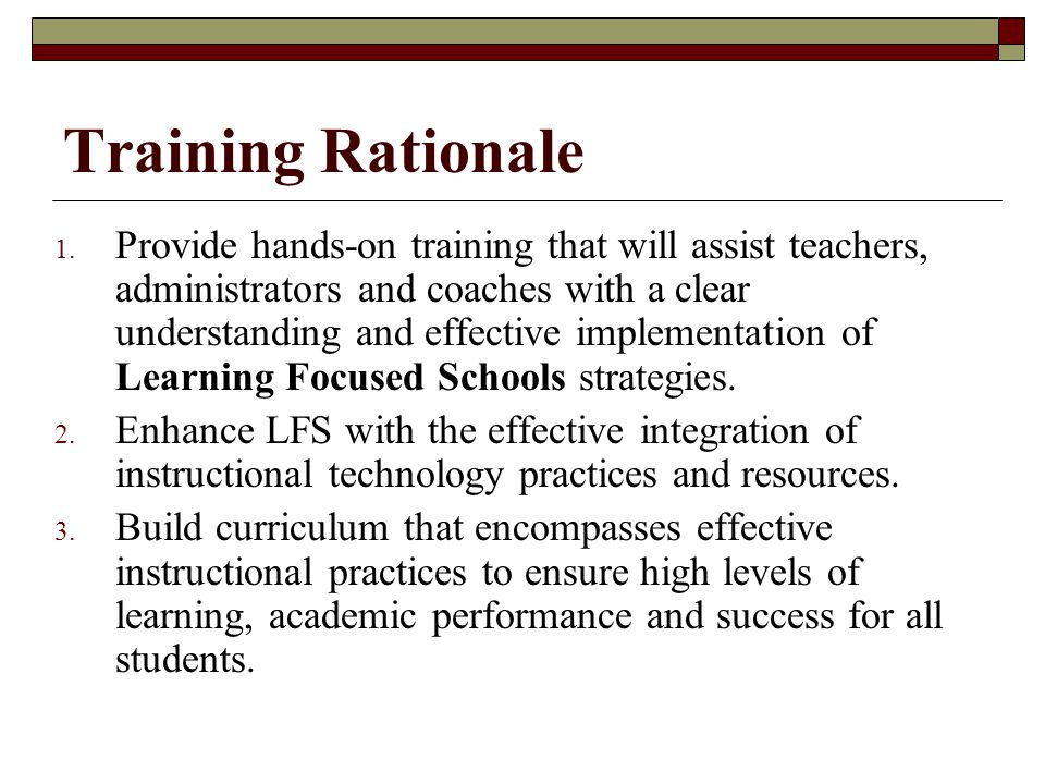 Training Rationale