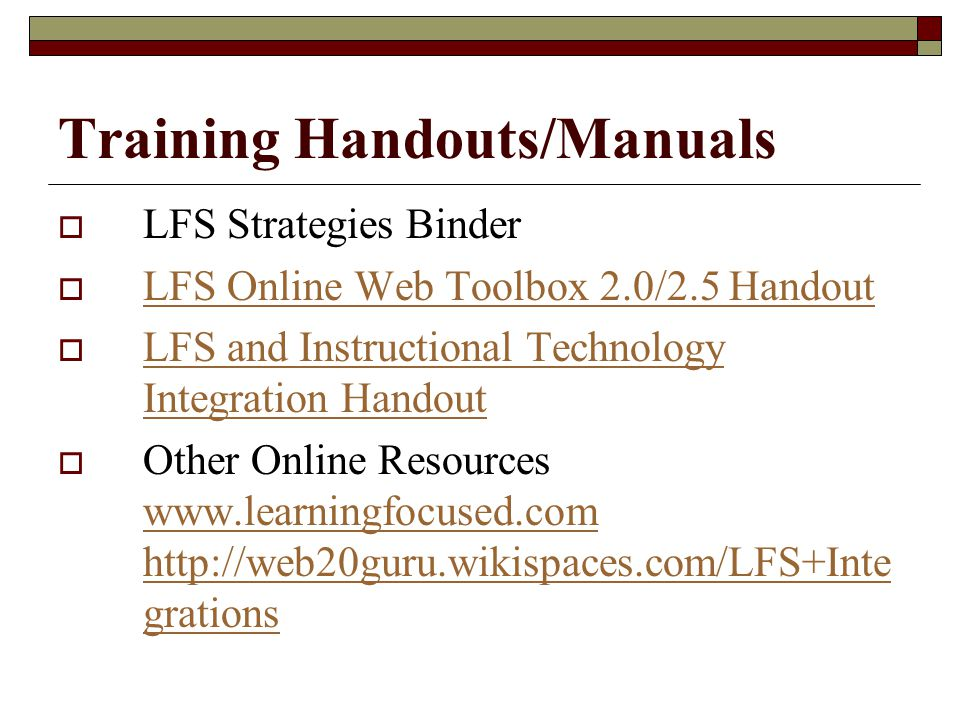 Training Handouts/Manuals