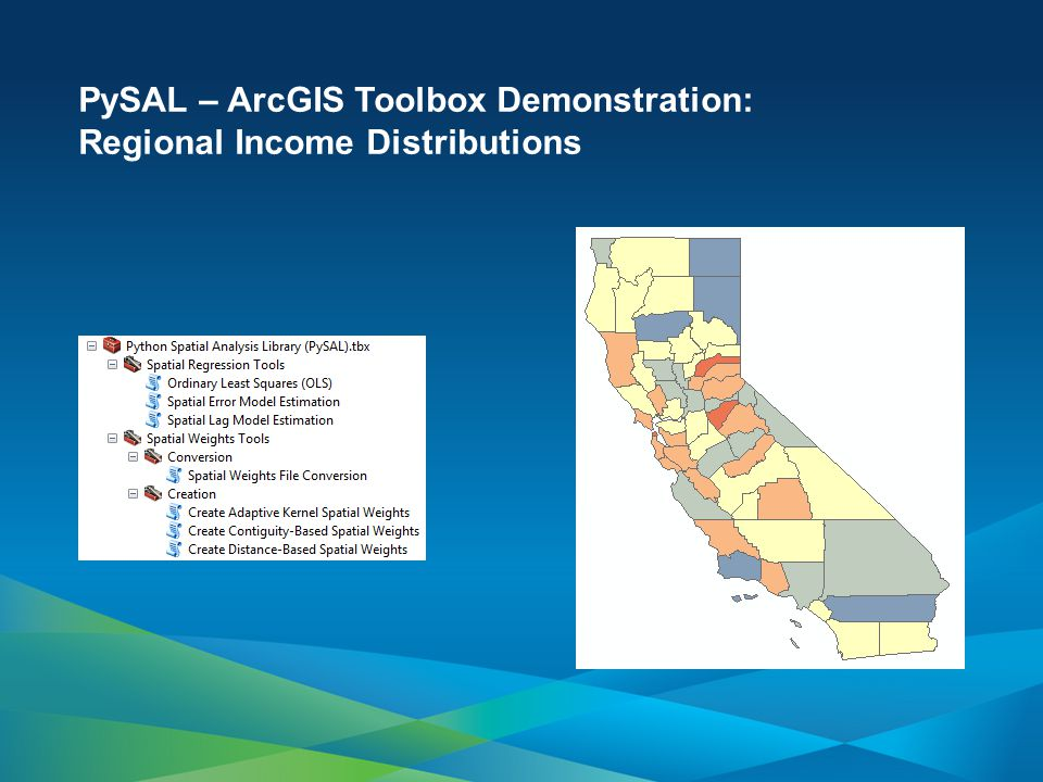 PySAL – ArcGIS Toolbox Demonstration: Regional Income Distributions