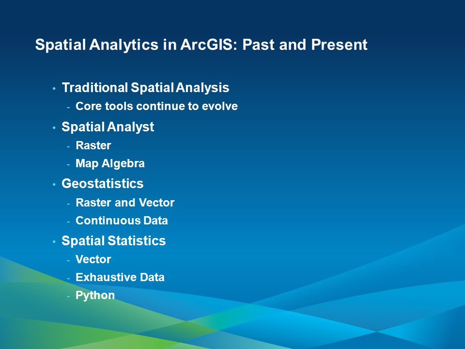 Spatial Analytics in ArcGIS: Past and Present