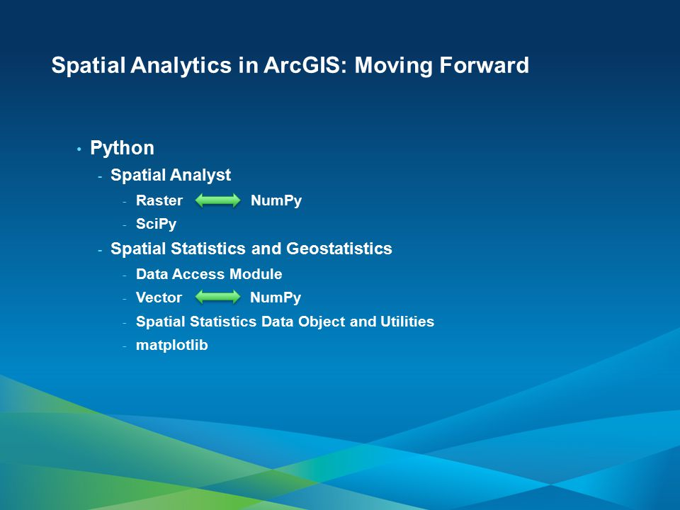 Spatial Analytics in ArcGIS: Moving Forward