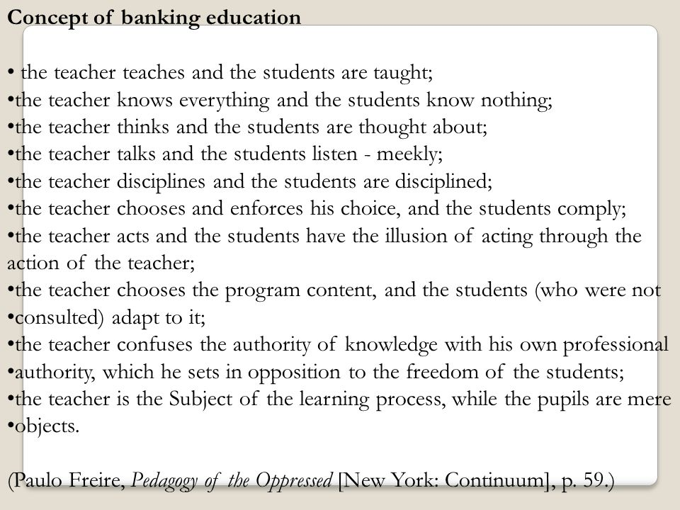 Concept of banking education