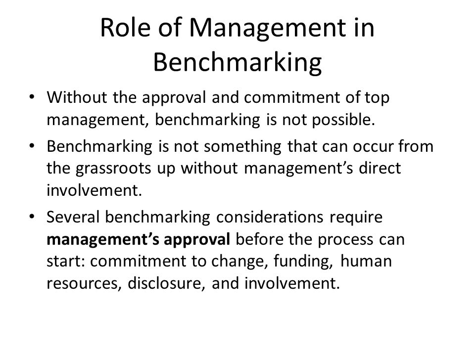 Role of Management in Benchmarking