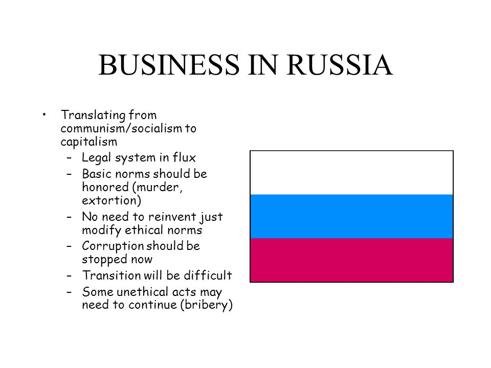 BUSINESS IN RUSSIA Translating from communism/socialism to capitalism