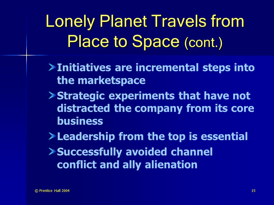Lonely Planet Travels from Place to Space (cont.)