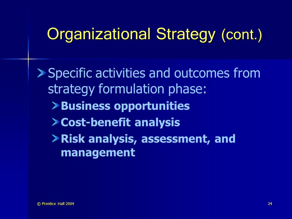 Organizational Strategy (cont.)