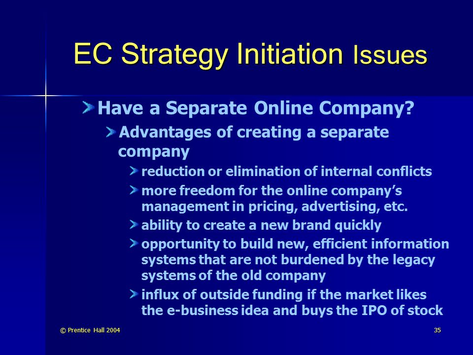 EC Strategy Initiation Issues