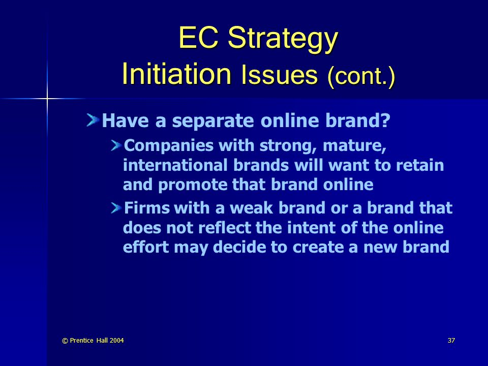 EC Strategy Initiation Issues (cont.)