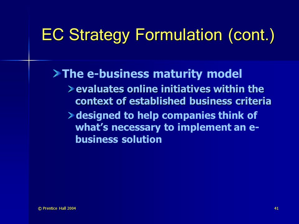 EC Strategy Formulation (cont.)