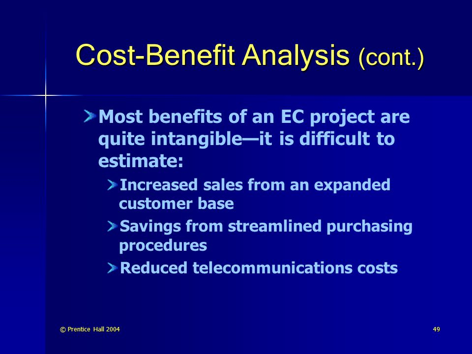Cost-Benefit Analysis (cont.)