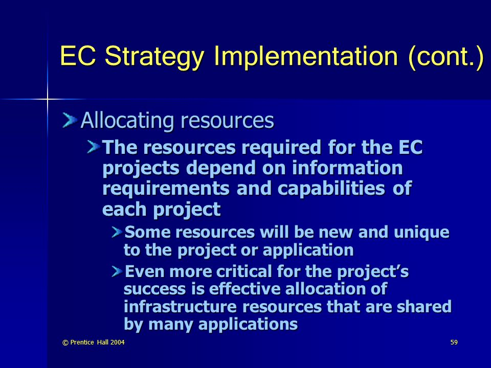 EC Strategy Implementation (cont.)