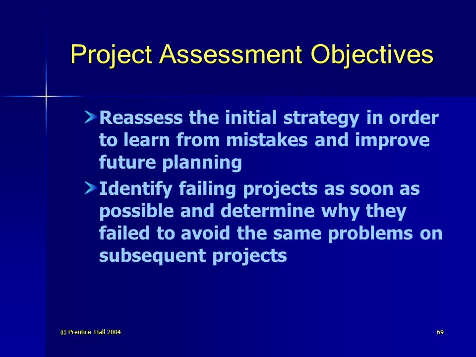 Project Assessment Objectives
