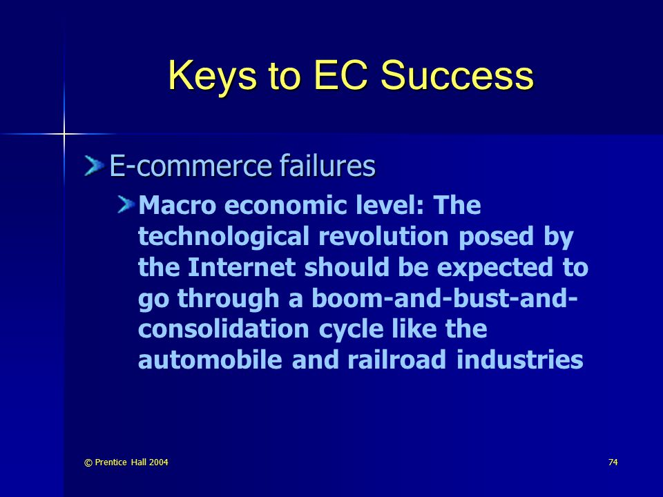 Keys to EC Success E-commerce failures