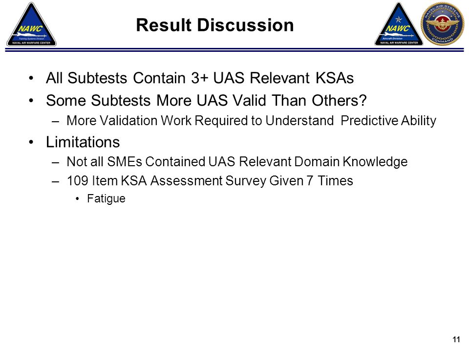 Result Discussion All Subtests Contain 3+ UAS Relevant KSAs