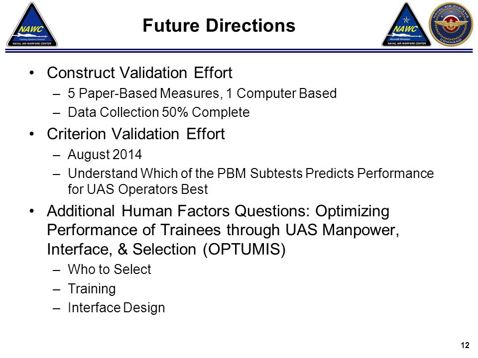 Future Directions Construct Validation Effort