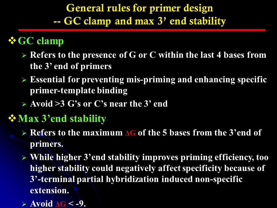 General rules for primer design -- GC clamp and max 3' end stability