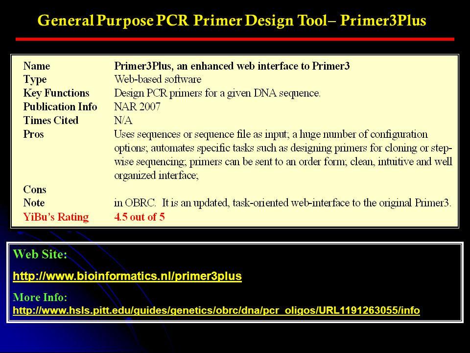 General Purpose PCR Primer Design Tool– Primer3Plus