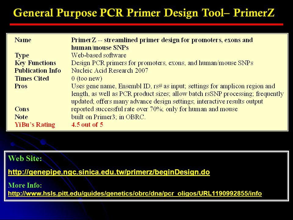 General Purpose PCR Primer Design Tool– PrimerZ