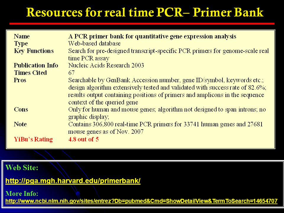 Resources for real time PCR– Primer Bank