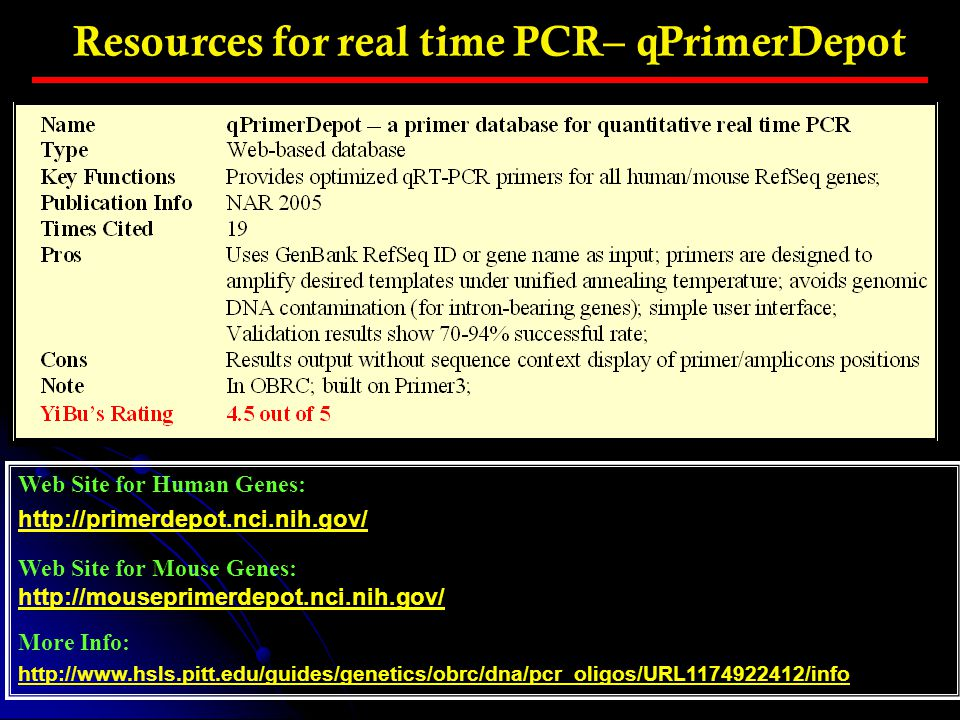 Resources for real time PCR– qPrimerDepot