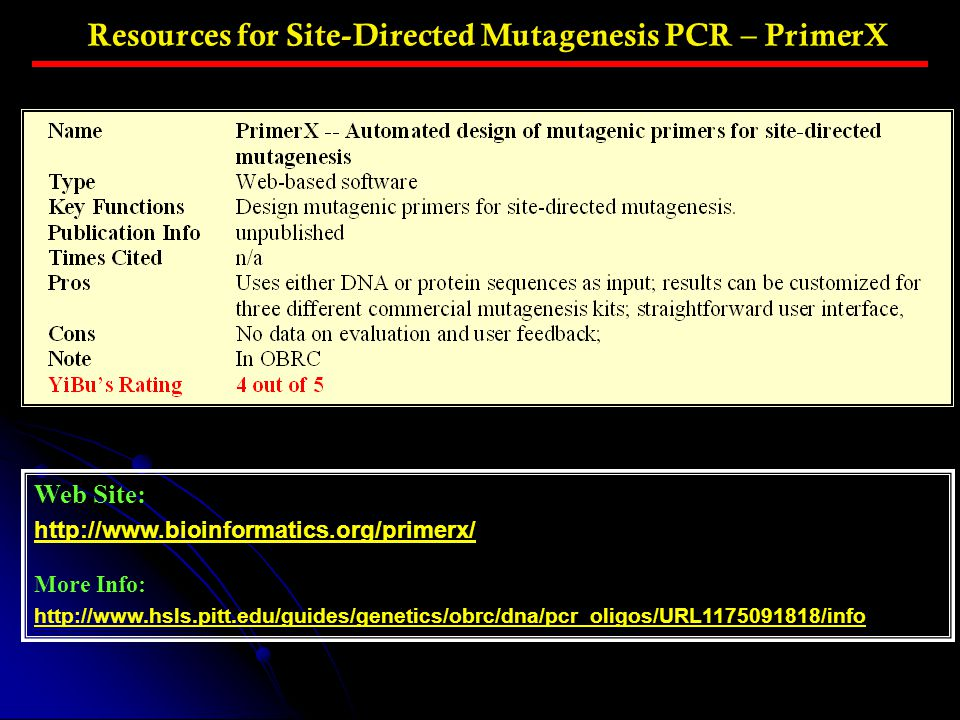 Resources for Site-Directed Mutagenesis PCR – PrimerX