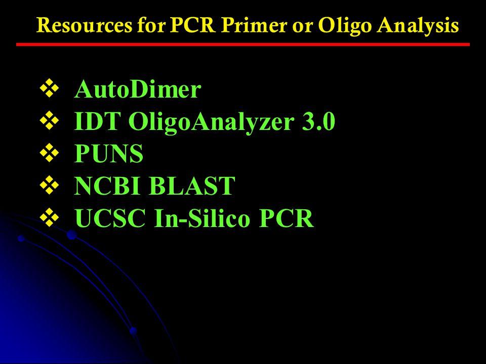 AutoDimer IDT OligoAnalyzer 3.0 PUNS NCBI BLAST UCSC In-Silico PCR