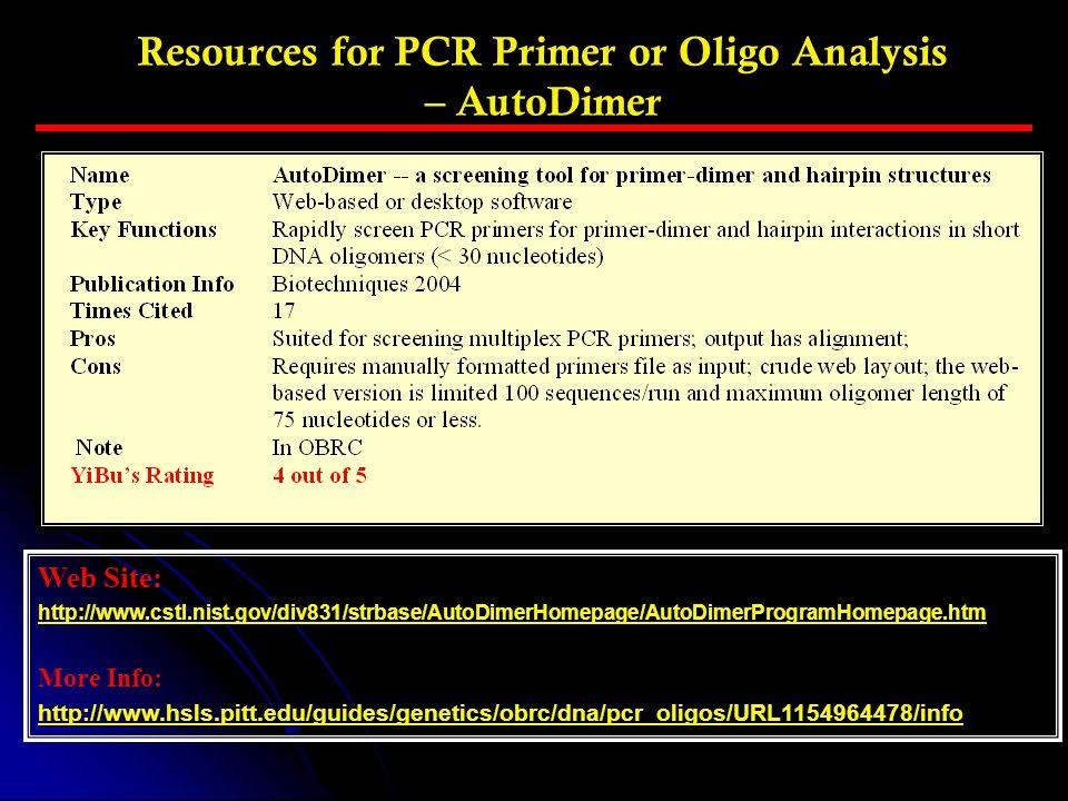 Resources for PCR Primer or Oligo Analysis – AutoDimer