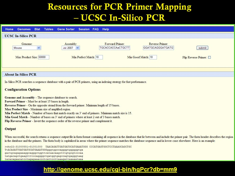 Resources for PCR Primer Mapping – UCSC In-Silico PCR