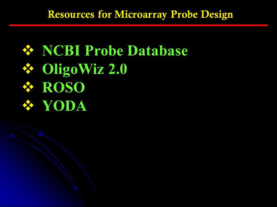 NCBI Probe Database OligoWiz 2.0 ROSO YODA