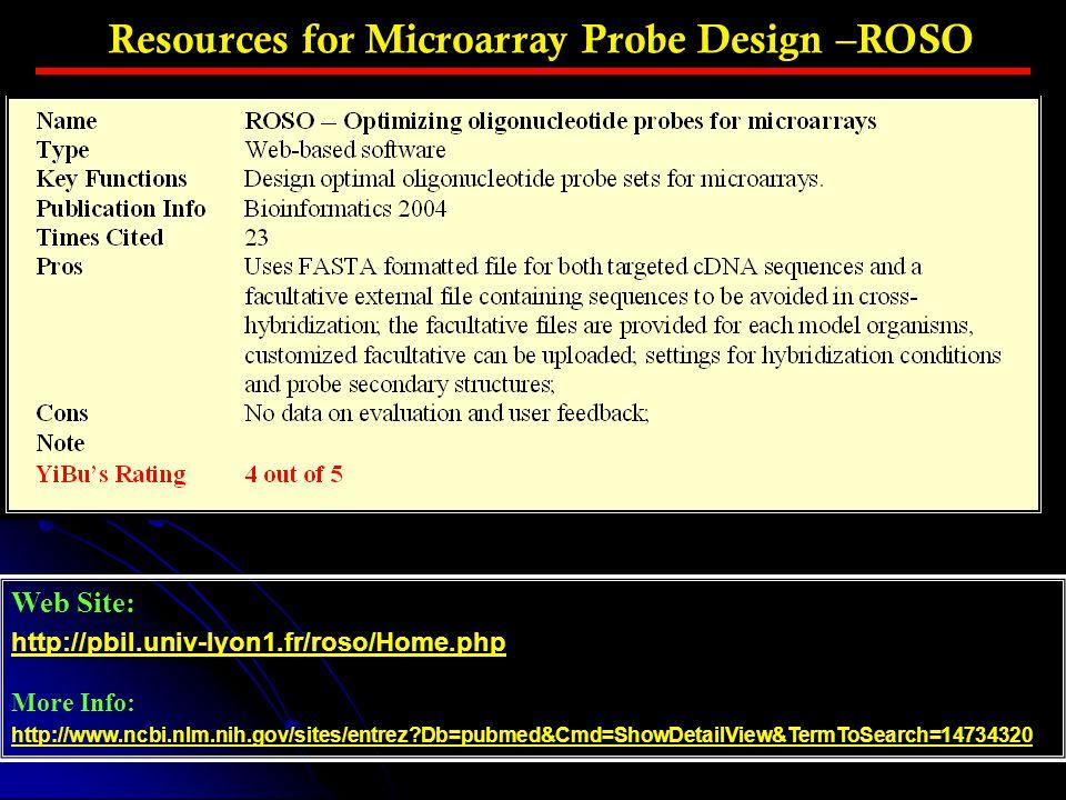 Resources for Microarray Probe Design –ROSO