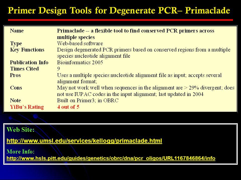 Primer Design Tools for Degenerate PCR– Primaclade