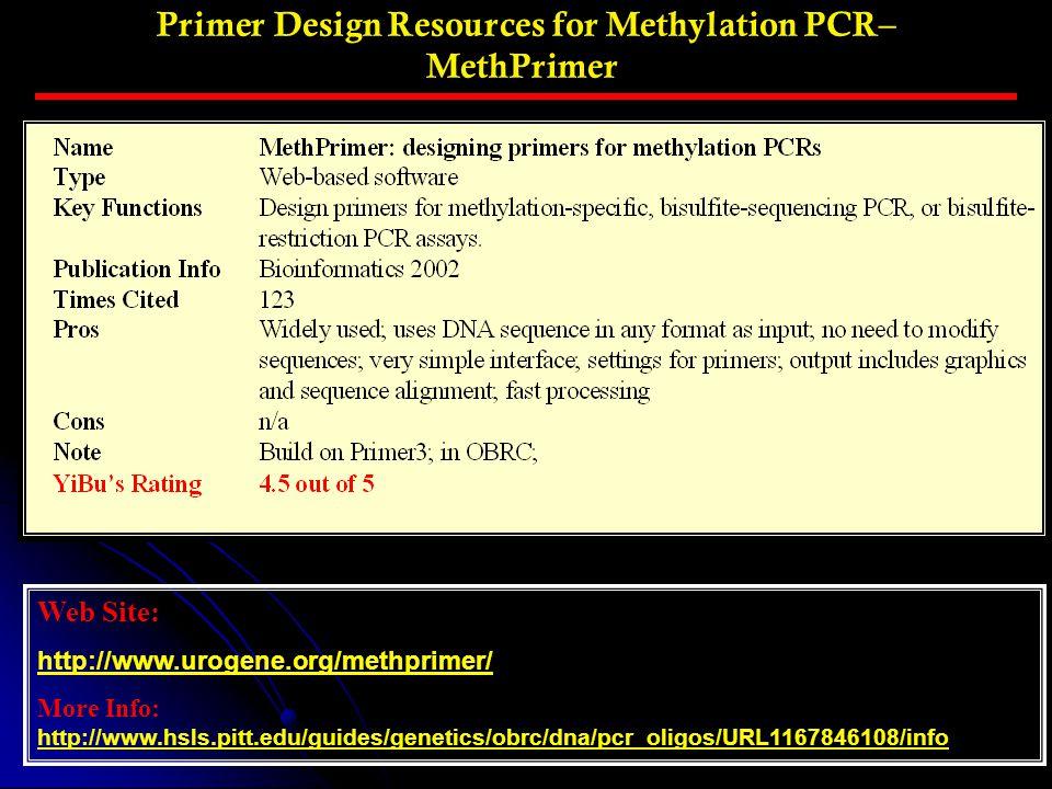 Primer Design Resources for Methylation PCR– MethPrimer