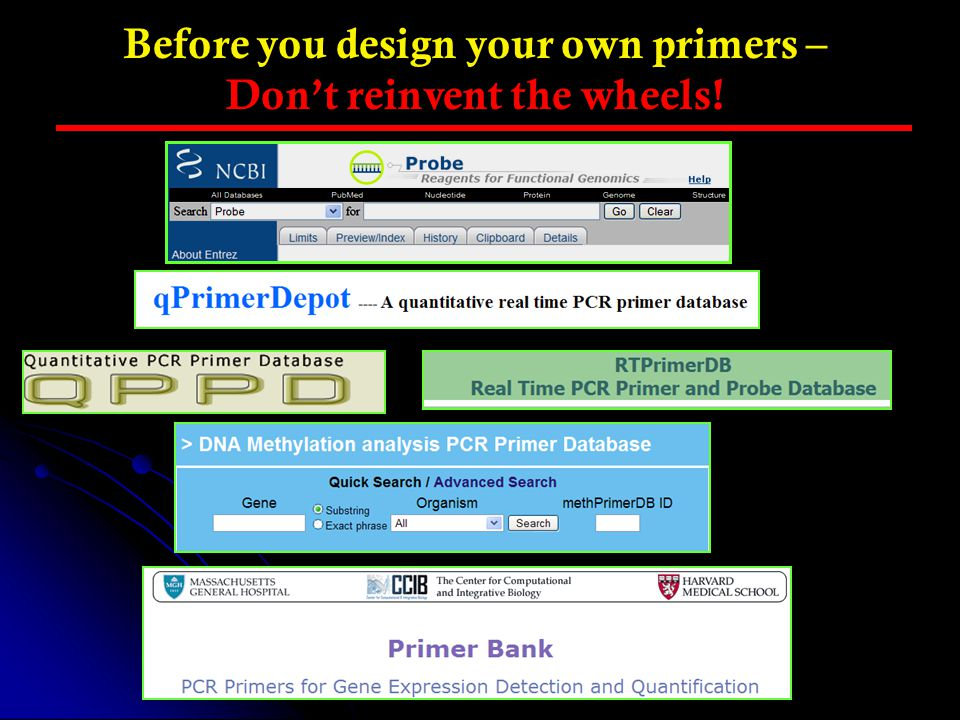 Before you design your own primers – Don't reinvent the wheels!